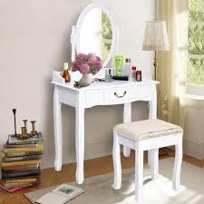costway vanity table jewelry makeup desk bench dresser w stool drawer white bathroom walmart