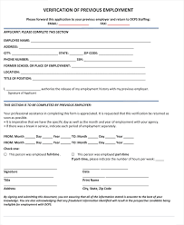 employment history verification form employment verification form template previous practicable see