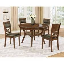 brown traditional 5 piece round dining set cally bar height dining tableround