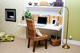 f remarkable home office ideas for small spaces with white finish wooden desks which has hutch and brown woven bamboo office chair using brown varnished amazing home office chair