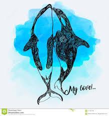 иллюстрация Doodle дельфин касатки эскиз фантазии нарисованная рукой