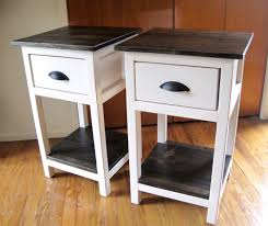 Metal Side Tables For Bedroom White Solid Wood Low Profile Nightstand With Three Drawer And