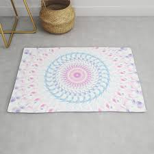 pastel wave mandala in pale pink white and lilac rug
