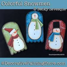 Colorful Snowmen Ornaments Download Becky Levesque