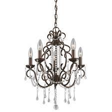 portfolio roz 16 in 5 light dark bronze vintage crystal candle chandelier