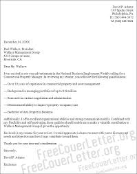 commercial real estate cover letter property manager cover letter sample
