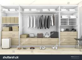 walk closet. Walk Closet. 3d Rendering Minimal Wood In Closet With Wardrobe