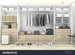 walk closet. 3d Rendering Minimal Wood Walk In Closet With Wardrobe