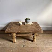 antique low elm coffee table ton
