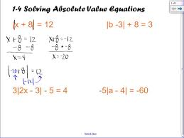 algebra ii 1 4 solving absolute value equations