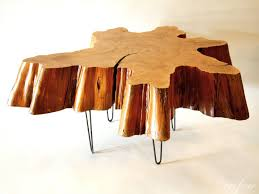 Furniture: Tree Trunk Coffee Table Lovely Reclaimed Tree Stump Coffee Table  On Vintage Hairpin Legs