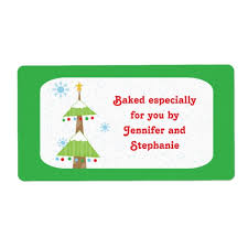 Christmas Tree Labels Snowy Christmas Tree Baked Goods Gift Tag Labels