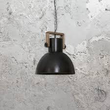 wooden industrial black pendant light