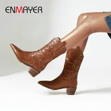 <b>ENMAYER</b> 2019 Winter Boots Women Sexy Slip On Mid Calf Boots ...