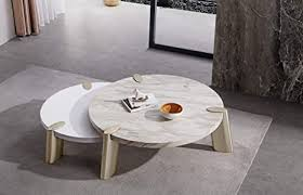 Some trial and error with this one ;di got around to finish it this summer, finally. Amazon Com Whiteline Modern Living Mimeo Large Round Coffee Table With White Marble Paper Top And Brushed Stainless Steel Legs Furniture Decor