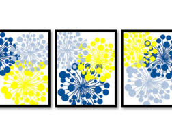 >yellow flowers print etsy navy blue yellow flower print flowers dandelion set of 3 art prints wall decor bathroom bedroom living room modern minimalist
