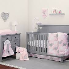 details about pink grey baby girl elephant crib bedding set free