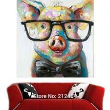 h a0029 2 on pig canvas wall art with cute animal rooster donkey pig hand painted oil painting on canvas