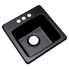 3 hole bar sink in black