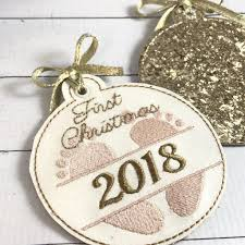 First Christmas Embroidery Design Babys First Christmas Ornament For 4x4 Hoops Designs By