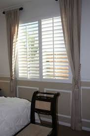 window shutters with curtains. Exellent Curtains Polywood Shutter With Side Curtains Love The Short Rod Curtains Are  Hung On For Window Shutters With Curtains T