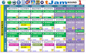 excel workout tools master calendar 3 weeks worked with 10 day kick start