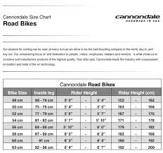 Cannondale Catalyst 3 Size Chart Cannondale Road Bike Frame Size Chart Lajulak Org