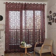 living room curtains. Top Finel Window Treatments Sheer Curtain Panels For Living Room 76 Inch Width X 84 Length,Burgundy,Single Panel,Grommets Curtains