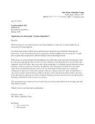 Cover Letter Internship Civil Engineering Application Letter Sample