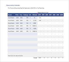 Depreciation Schedule Template 9 Free Word Excel Pdf
