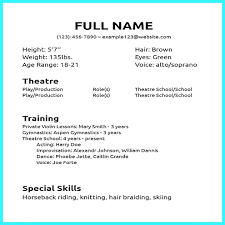 Sample Acting Resume With No Experience Acting Resumes With No Experience Browse Acting Resume Format No 6