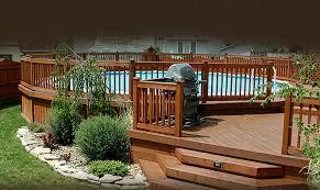 above ground round pool with deck.  Ground Round Above Ground Pool Floating With Wooden Decks With Above Ground Pool Deck E