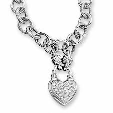 t w diamond heart link necklace in sterling silver