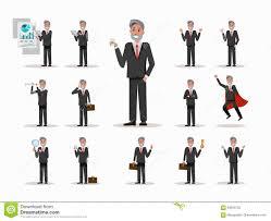 Set Of Senior Businessman Character Poses Stock Vector