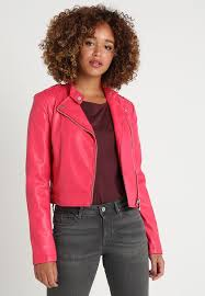 guess eleonora faux leather jacket wildheart red qf89450