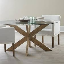 modern x base dining table in brown with glass wood design 2