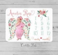 Baby Girl Milestone Blanket Angel Wings Blanket Newborn