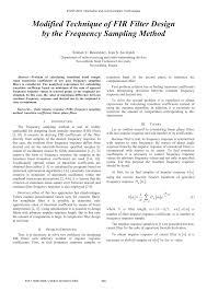 Frequency Sampling Method Fir Filter Design Pdf Modified Technique Of Fir Filter Design By The