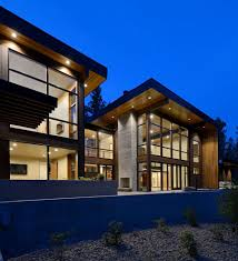 single family homes exterior modern with wood siding