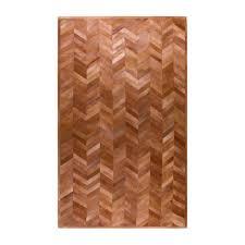 natural stitch parquet tan 8 ft x 10 ft cowhide area rug