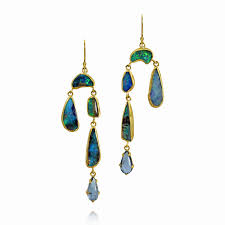 margery hirschey opal and aquamarine chandelier earrings