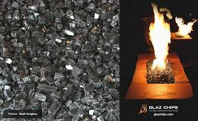 black fire pit glass fresh glaz chips fire glass the alternative for