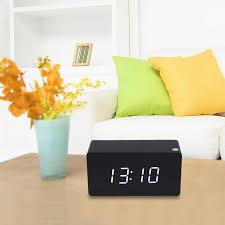 morden white led wooden digital black alarm clock calendar thermometer