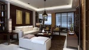 asian living room dark brown nuance of the living room interior of the asian home decoration with white sofas