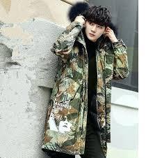 camo fur coat cool parka jacket men fur hood leaves quilted winter long fishtail parka