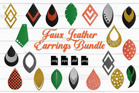 free faux leather earrings bundle svg eps dxf png crafter file