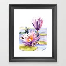water lily lotus asian ink drawing zen brush pink purple flower framed art print red lotus flower painting lotus pond canvas prints