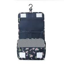 portable folding travel storage bag wall mounted hanging cosmetic makeup organizer case with mirror mount