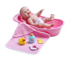 realistic baby doll bathtub gift set girls jc toys newborn infant cute pink new