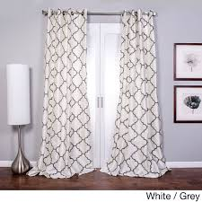 lambrequin morocco flocked faux silk grommet top 96 inch curtain panel